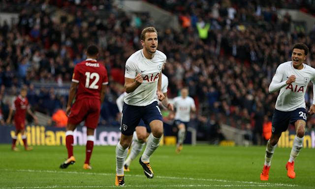 "<a class=""link rapid-noclick-resp"" href=""/soccer/players/harry-kane/"" data-ylk=""slk:Harry Kane"">Harry Kane</a> celebrates the final goal for Tottenham in a 4-1 win over <a class=""link rapid-noclick-resp"" href=""/soccer/teams/liverpool/"" data-ylk=""slk:Liverpool"">Liverpool</a> at Wembley Stadium. (The Guardian)"