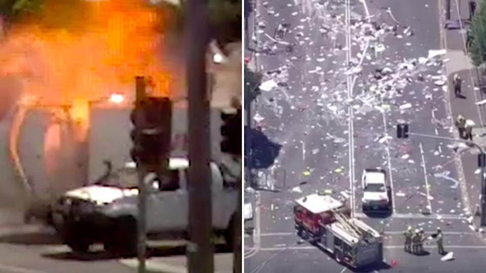 Confronting footage of the moment the van exploded has been released by the coroner, showing a street becoming a scene of devastation. Source: 7News
