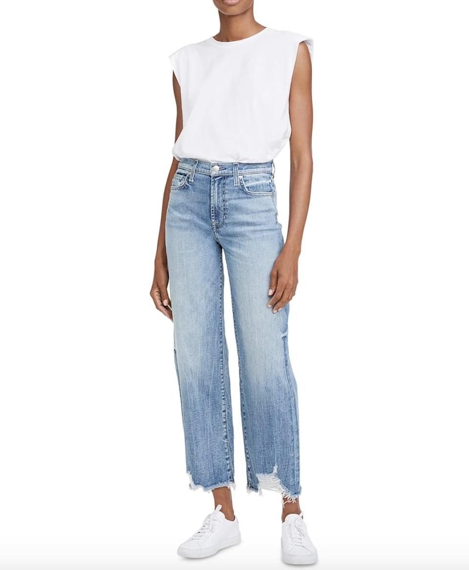 """<p>The frayed hem on these <a href=""""https://www.macys.com/shop/product/7-for-all-mankind-alexa-destroyed-hem-cropped-jeans?ID=12500781&amp;CategoryID=28754"""" class=""""link rapid-noclick-resp"""" rel=""""nofollow noopener"""" target=""""_blank"""" data-ylk=""""slk:7 For All Mankind  Alexa Destroyed Hem Cropped Jeans"""">7 For All Mankind<br> Alexa Destroyed Hem Cropped Jeans</a> ($119) is so fun. The straight leg silhouette looks so cute with sneakers and heels.</p>"""