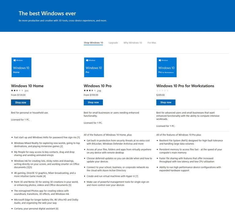 Captura de pantalla de la Microsoft Store . Te contamos cómo actualizar de Windows 7 a Windows 10