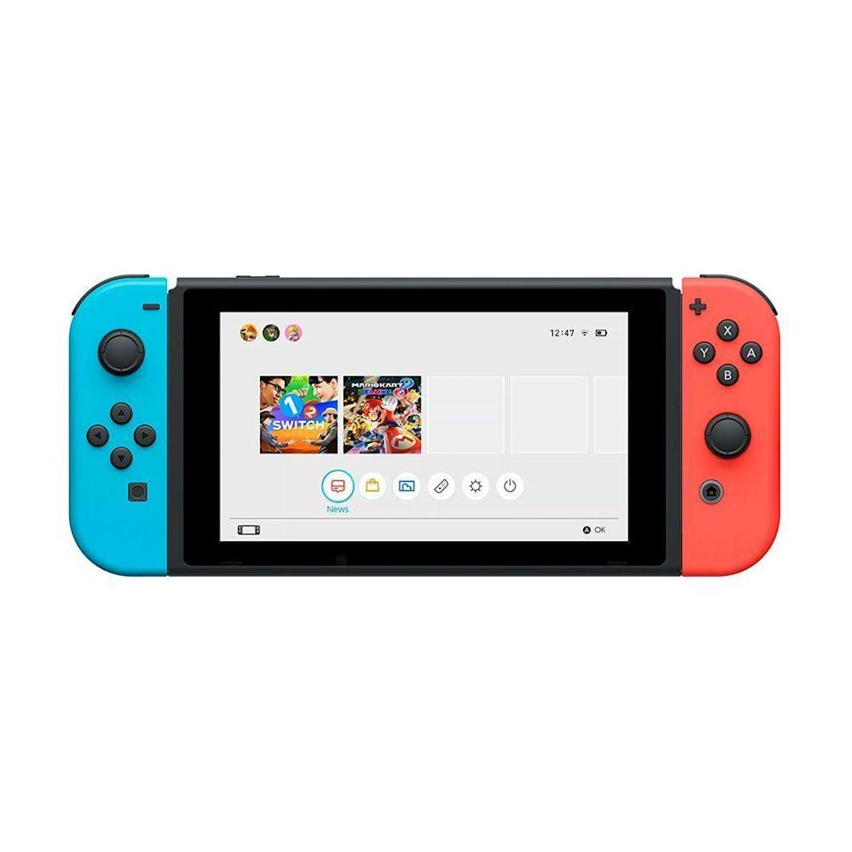 """<p><strong>Nintendo</strong></p><p>amazon.com</p><p><strong>$308.00</strong></p><p><a href=""""https://www.amazon.com/dp/B08M8YQMH4?th=1&tag=syn-yahoo-20&ascsubtag=%5Bartid%7C2089.g.3486%5Bsrc%7Cyahoo-us"""" rel=""""nofollow noopener"""" target=""""_blank"""" data-ylk=""""slk:Shop Now"""" class=""""link rapid-noclick-resp"""">Shop Now</a></p><p>The Nintendo Switch is the latest craze in the gaming world. The <a href=""""https://www.bestproducts.com/tech/gadgets/g2887/top-nintendo-nx-switch-games/"""" rel=""""nofollow noopener"""" target=""""_blank"""" data-ylk=""""slk:continually growing selection of games"""" class=""""link rapid-noclick-resp"""">continually growing selection of games</a> attracts new users all the time — that and the fact that you can virtually play <em>anywhere</em>, and with another person using the Joy-Con controllers.</p>"""