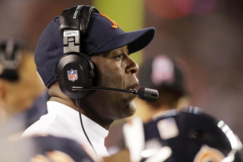 Chicago Bears head coach Lovie Smith watches the action against the Detroit Lions in the second half of an NFL football game in Chicago, Monday, Oct. 22, 2012. (AP Photo/Nam Y. Huh)