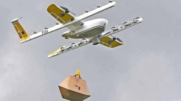 PHOTO: A Wing Hummingbird drone carries a package of ice cream and popsicles during a delivery flight demonstration in Blacksburg, Va., Aug, 7, 2018. Win is a subsidiary of Google's parent corporation Alphabet. (Michael Shroyer/AP, FILE)