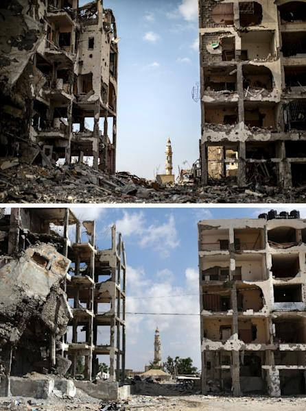 A combination of pictures made on July 3, 2015, shows (top) destroyed buildings in front of a mosque in the northern Gaza Strip town of Beit Hanun on August 3, 2014, and the same place (bottom) on July 3, 2015, a year later (AFP Photo/Marco Longari, Mahmud Hams)