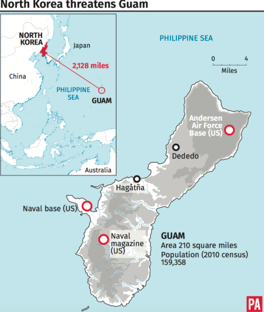 Guam is situated over 2,000 miles from North Korea (PA)