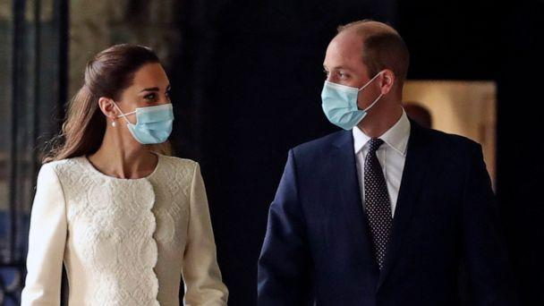 PHOTO: Britain's Kate, Duchess of Cambridge and Prince William and arrive for a visit to the vaccination center at Westminster Abbey, London, March 23, 2021. (Aaron Chown/Pool Photo via AP)