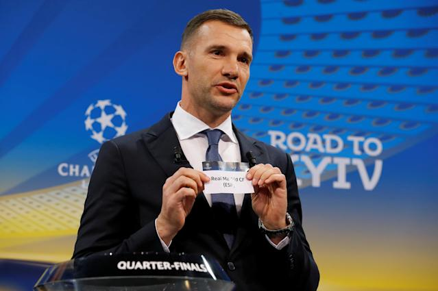 Soccer Football - Champions League Quarter-Final Draw - Nyon, Switzerland - March 16, 2018 Andriy Shevchenko draws Real Madrid REUTERS/Pierre Albouy
