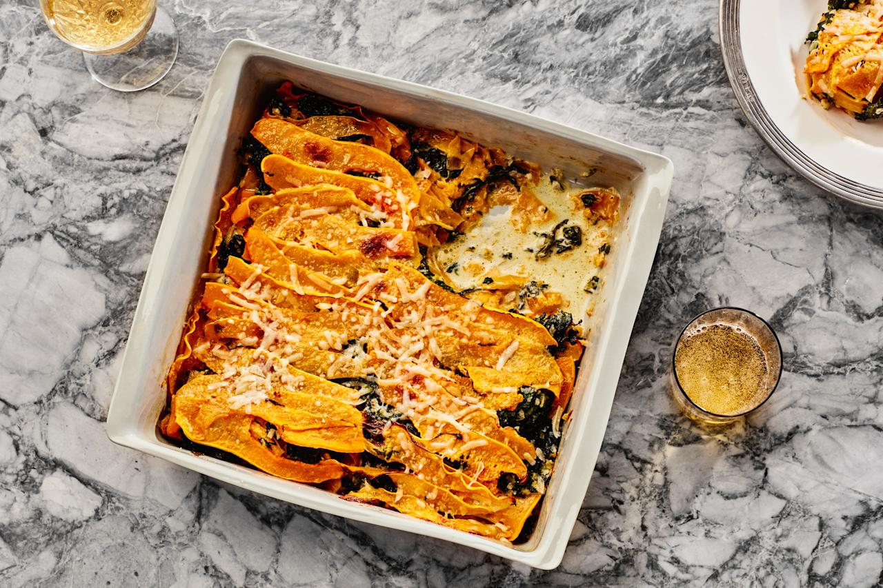 """Parmigiano-Reggiano and a generous dose of heavy cream transform butternut squash and spinach into a rich, bubbling gratin. <a href=""""https://www.epicurious.com/recipes/food/views/butternut-squash-and-creamed-spinach-gratin-236374?mbid=synd_yahoo_rss"""">See recipe.</a>"""