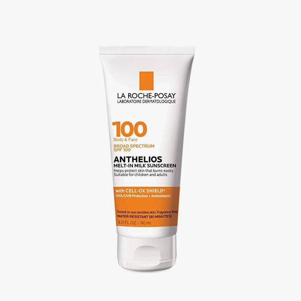 """Whether you're about to face harsh sunlight or have a complexion that's especially vulnerable to UV rays, look no further than this SPF 100 formula, which is formulated specifically for skin that burns easily. The fact that it's water-resistant and doesn't leave a chalky residue with its featherweight, melts-right-in texture makes it that much more impressive. $36, LA ROCHE-POSAY. <a href=""""https://shop-links.co/1707072210826324108"""" rel=""""nofollow noopener"""" target=""""_blank"""" data-ylk=""""slk:Get it now!"""" class=""""link rapid-noclick-resp"""">Get it now!</a>"""