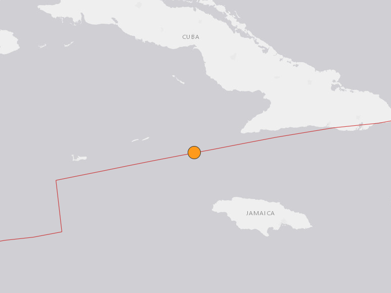 Map showing location of the 7.7 magnitude earthquake that has been felt in Jamaica and Cuba, among other places: US Geological Survey