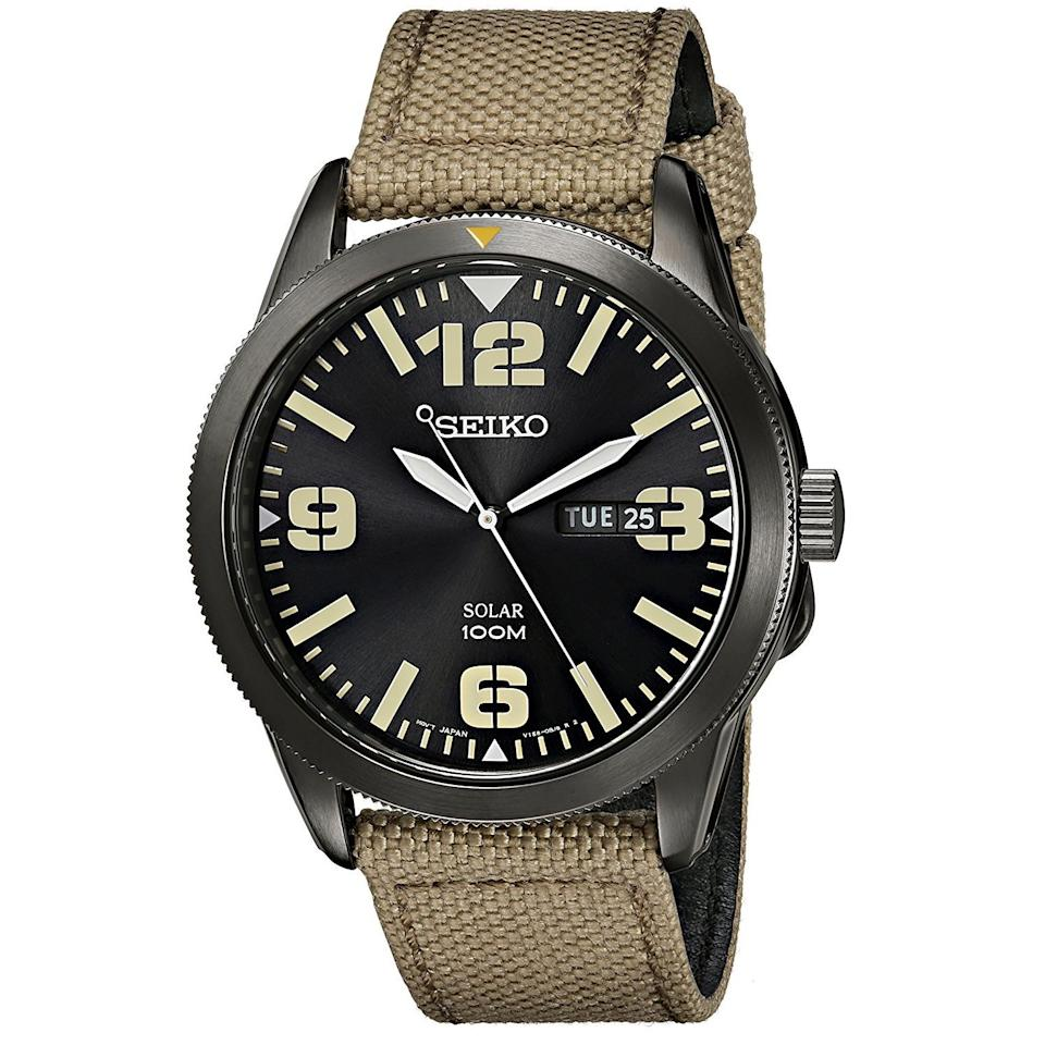 """<p><strong>SEIKO</strong></p><p>amazon.com</p><p><strong>$94.04</strong></p><p><a href=""""http://www.amazon.com/dp/B00I1KW2FW/?tag=syn-yahoo-20&ascsubtag=%5Bartid%7C2089.g.3124%5Bsrc%7Cyahoo-us"""" target=""""_blank"""">Shop Now</a></p><p>The Seiko SNE331 Core has a military-inspired design that combines a 43-millimeter black stainless steel case and dial with contrasting markers. The nylon band matches the color of the timepiece's markers to complete the utilitarian vibe of the timepiece.<br></p><p><strong>More:</strong> <a href=""""https://www.bestproducts.com/mens-style/g1014/black-watches-for-men/"""" target=""""_blank"""">Black Watches You Need in Your Collection</a></p>"""