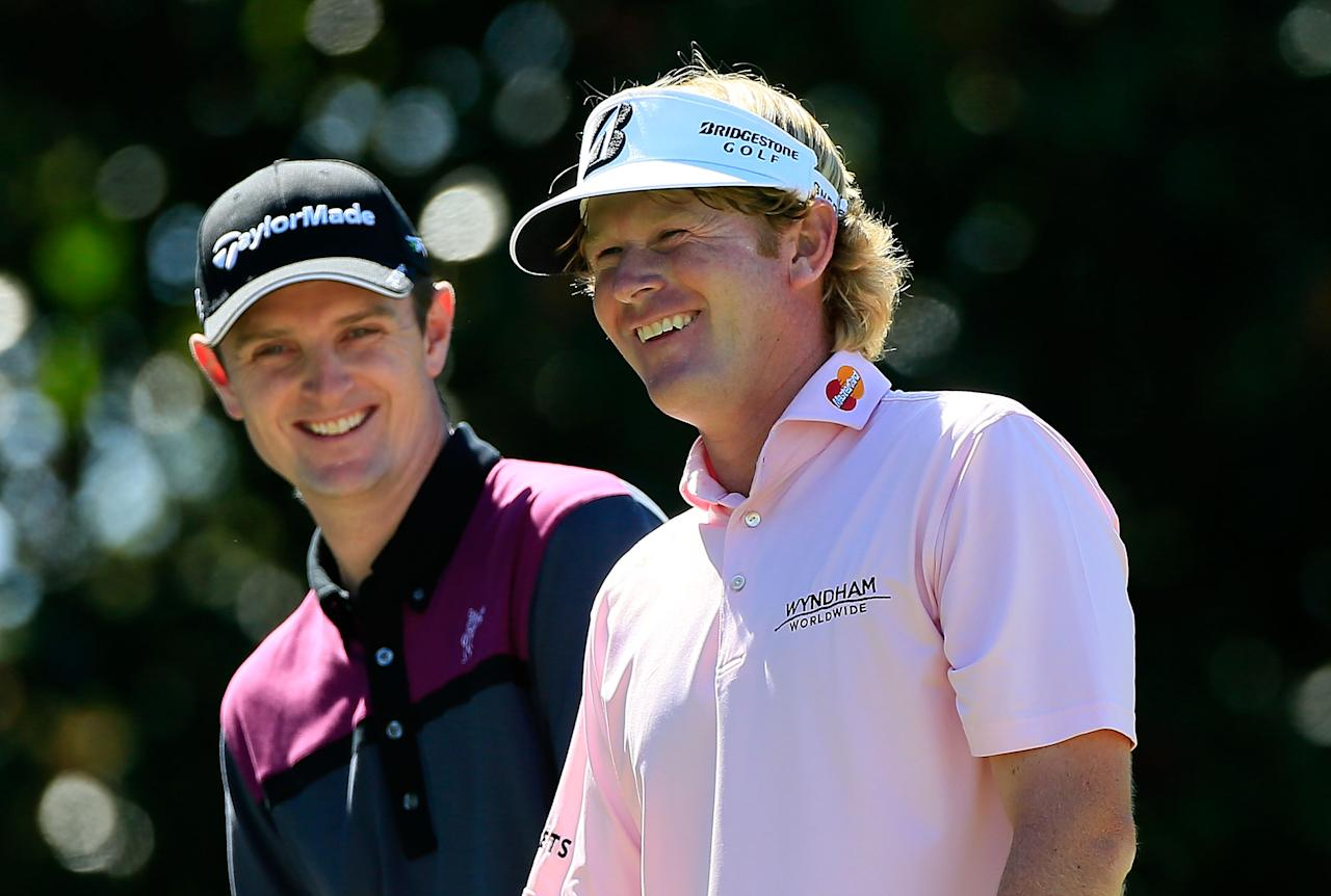 ATLANTA, GA - SEPTEMBER 23:  Justin Rose of England (L) and Brandt Snedeker share a laugh on the fifth hole during the final round of the TOUR Championship by Coca-Cola at East Lake Golf Club on September 23, 2012 in Atlanta, Georgia.  (Photo by Sam Greenwood/Getty Images)