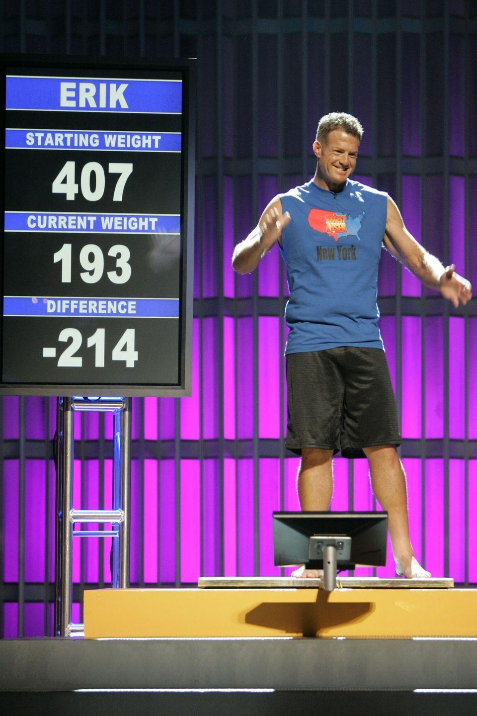 <p>Erik had what may have been one of the most dramatic weight losses on the show. He went from 407 pounds to 193 pounds to win in season 3.</p>