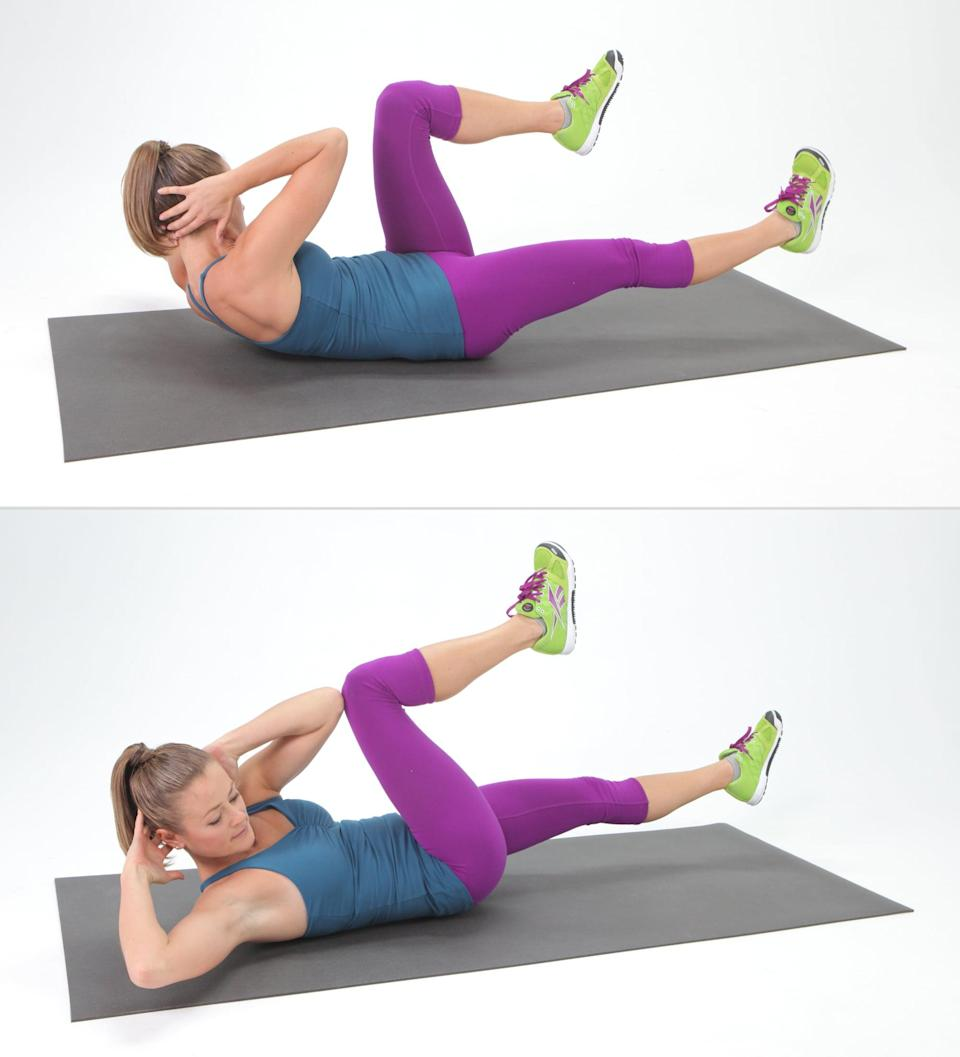 <ul> <li>Lie flat on the floor with your lower back pressed to the ground.</li> <li>With your hands behind your head, bring your knees toward your chest and lift your upper back until your shoulder blades off the mat. Be sure not to pull on your neck.</li> <li>Straighten your right leg out to about a 45-degree angle to the ground while turning your upper body to the left, bringing your right elbow toward the left knee. Make sure your rib cage is moving and not just your elbows.</li> <li>Switch sides, and do the same motion on the other side to complete one rep.</li> <li>Complete 15 reps.</li> </ul>