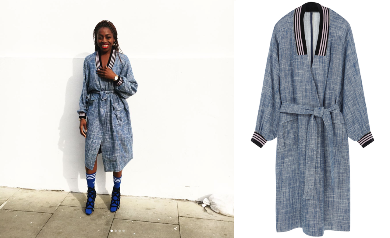 """<p><a rel=""""nofollow"""" href=""""http://www.asos.com/asos-made-in-kenya/asos-made-in-kenya-chambray-mac-with-contrast-rib/prd/7119108?iid=7119108&clr=Blue&SearchQuery=921075&SearchRedirect=true"""">ASOS, £70</a><br /><em>[Photo: Instagram/asos_debbie]</em> </p>"""
