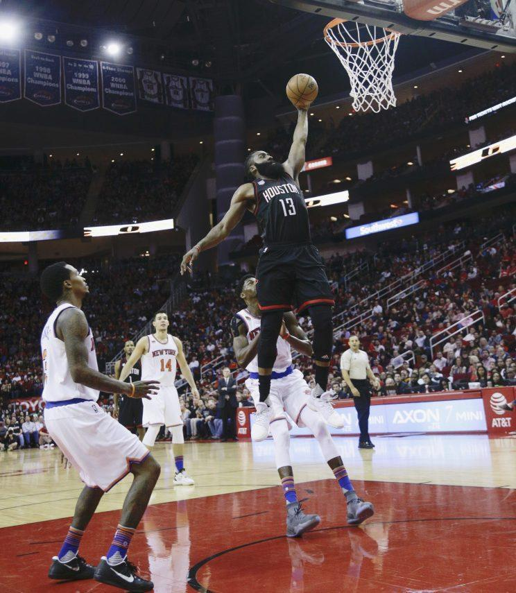 James Harden put up numbers on Saturday that the NBA had never seen before. (AP Photo)