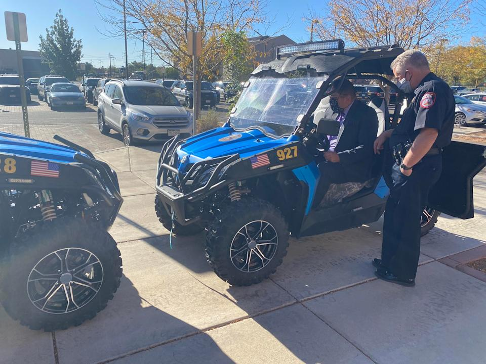 Pueblo Police Chief Troy Davenport, right, and Sgt. Frank Ortega test new utility task vehicles the department had acquired to reach places on rough terrain such as homeless camps. Last week health officials administered COVID-19 tests to homeless people along Fountain Creek.