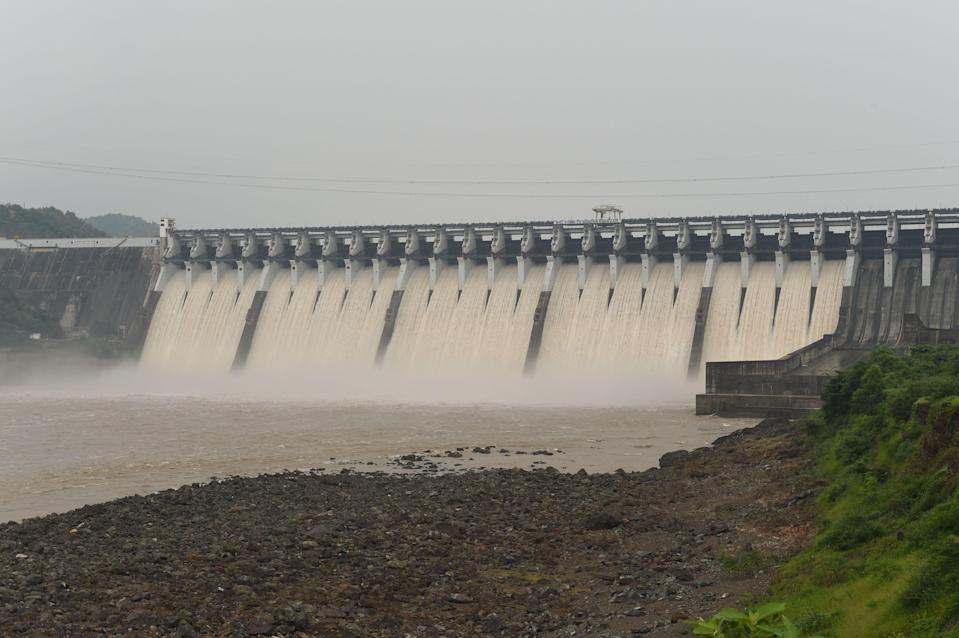 File: Water gushes out of Sardar Sarovar Narmada dam, some 200 km from Indian city of Ahmedabad, on 17 September, 2019 (AFP via Getty Images)