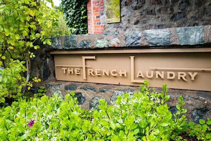 The French Laundry sign in Napa Valley County, California
