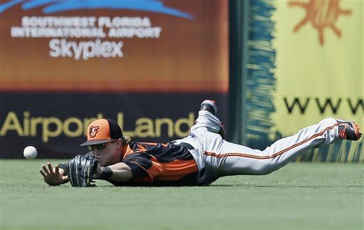 Baltimore Orioles left fielder Nate McLouth dives but can't handle a double by Minnesota Twins' Chris Parmelee in the fifth inning of a spring training baseball game in Fort Myers, Fla., Tuesday, March 26, 2013. (AP Photo/Elise Amendola)