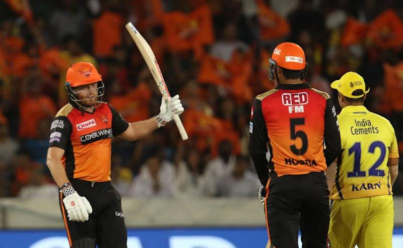 Jonny Bairstow of Sunrisers Hyderabad raises his bat after scoring fifty runs during match 33 of the Vivo Indian Premier League Season 12, 2019 between the Sunrisers Hyderabad and the Chennai Super Kings held at the Rajiv Gandhi Intl. Cricket Stadium, Hyderabad on the 17th April 2019 Photo by: Faheem Hussain /SPORTZPICS for BCCI