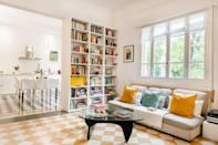 """This colorful two-bedroom is a short drive from central Bologna (and our favorite <a href=""""https://www.cntraveler.com/story/secrets-of-the-tortellini-queens-of-bologna-italy?mbid=synd_yahoo_rss"""" rel=""""nofollow noopener"""" target=""""_blank"""" data-ylk=""""slk:tortellini spot"""" class=""""link rapid-noclick-resp"""">tortellini spot</a>) but you may never want to leave, thanks to the floor-to-ceiling bookcases (and tower bookshelves out of frame), well-equipped kitchen with an espresso machine, comfy couch, and record machine. There's also a small private patio for morning coffee or <a href=""""https://www.cntraveler.com/story/italian-cocktails?mbid=synd_yahoo_rss"""" rel=""""nofollow noopener"""" target=""""_blank"""" data-ylk=""""slk:apertivo hour."""" class=""""link rapid-noclick-resp"""">apertivo hour.</a> $119, Airbnb (Starting Price). <a href=""""https://www.airbnb.com/rooms/plus/14001031"""" rel=""""nofollow noopener"""" target=""""_blank"""" data-ylk=""""slk:Get it now!"""" class=""""link rapid-noclick-resp"""">Get it now!</a>"""