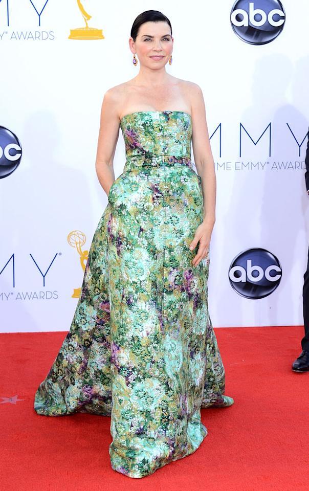 Julianna Margulies arrives at the 64th Primetime Emmy Awards at the Nokia Theatre in Los Angeles on September 23, 2012.