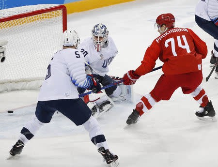 Ice Hockey - Pyeongchang 2018 Winter Olympics - Men's Preliminary Round Match - Olympic Athletes from Russia v U.S. - Gangneung Hockey Centre, Gangneung, South Korea - February 17, 2018 - Olympic Athlete from Russia Nikolai Prokhorkin scores a goal. REUTERS/Brian Snyder