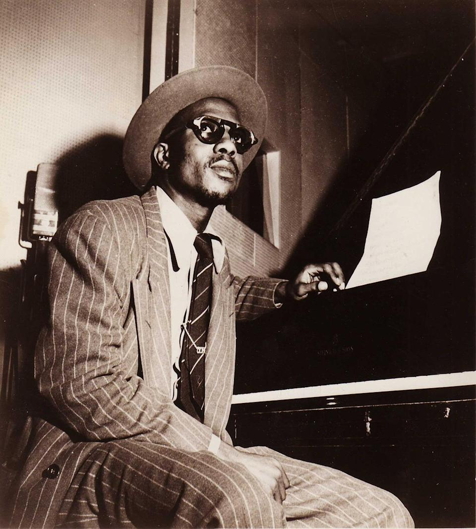 """<p>Jazz pianist Thelonious Monk was one of the most stylish players of his time. Active from the 1940s through the 1970s, Monk played music that boasted a unique improvisational, experimental style. He was the second-most-recorded jazz composer, after arguably the best jazz pianist of all time, Duke Ellington. In fashion as in music, Monk took more risks than Ellington. He almost always wore sunglasses while performing, and had an impressive hat collection, including the ones illustrated <a href=""""https://www.behance.net/gallery/7309705/A-Year-of-Hats-with-Thelonious-Monk"""" rel=""""nofollow noopener"""" target=""""_blank"""" data-ylk=""""slk:here"""" class=""""link rapid-noclick-resp"""">here</a>. <i>(Photo: Getty Images)</i></p>"""