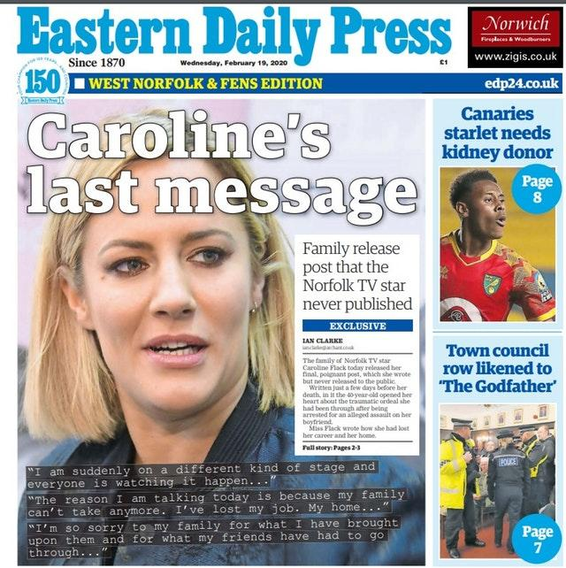 The front cover of the Eastern Daily Press newspaper