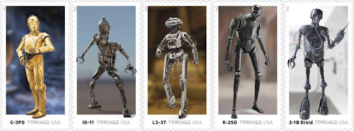 Star Wars droids stamps