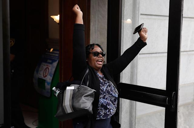 <p>A woman runs out of the courtroom after a mistrial was declared in Bill Cosby's sexual assault trial at the Montgomery County Courthouse in Norristown, Pa., Saturday, June 17, 2017. Cosby's trial ended without a verdict after jurors failed to reach a unanimous decision. (AP Photo/Matt Rourke) </p>