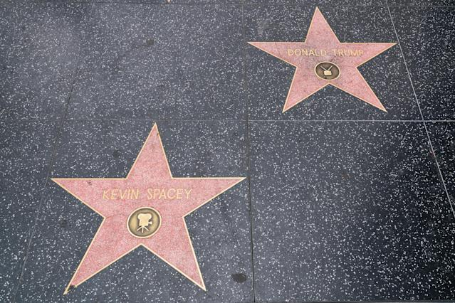 Donald Trump's star sits next to Kevin Spacey's tribute. (Photo: AaronP/Bauer-Griffin/GC Images)