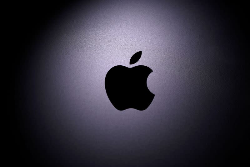 FILE PHOTO: Apple logo is seen on the Macbook in this illustration taken