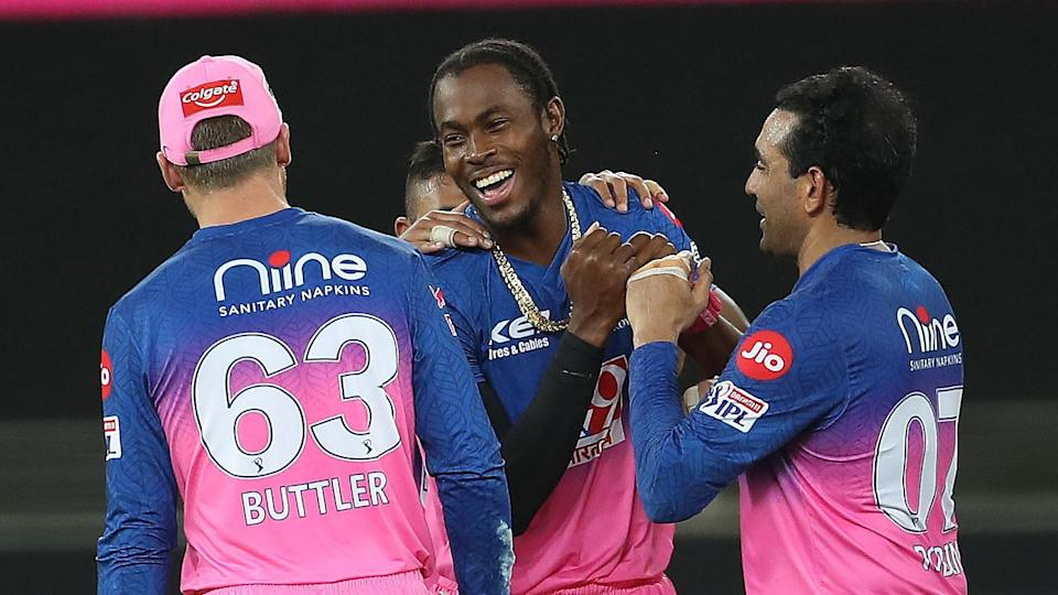 File picture of Jofra Archer celebrating a wicket with his RR team-mates.