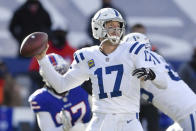 Indianapolis Colts quarterback Philip Rivers (17) throws a pass during the first half of an NFL wild-card playoff football game against the Buffalo Bills, Saturday, Jan. 9, 2021, in Orchard Park, N.Y. (AP Photo/Adrian Kraus)