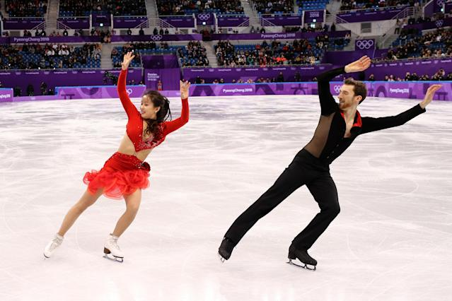 <p>Yura Min and Alexander Gamelin of Korea compete in the Figure Skating Team Event – Ice Dance – Short Dance on day two of the PyeongChang 2018 Winter Olympic Games at Gangneung Ice Arena on February 11, 2018 in Gangneung, South Korea. (Photo by Maddie Meyer/Getty Images) </p>