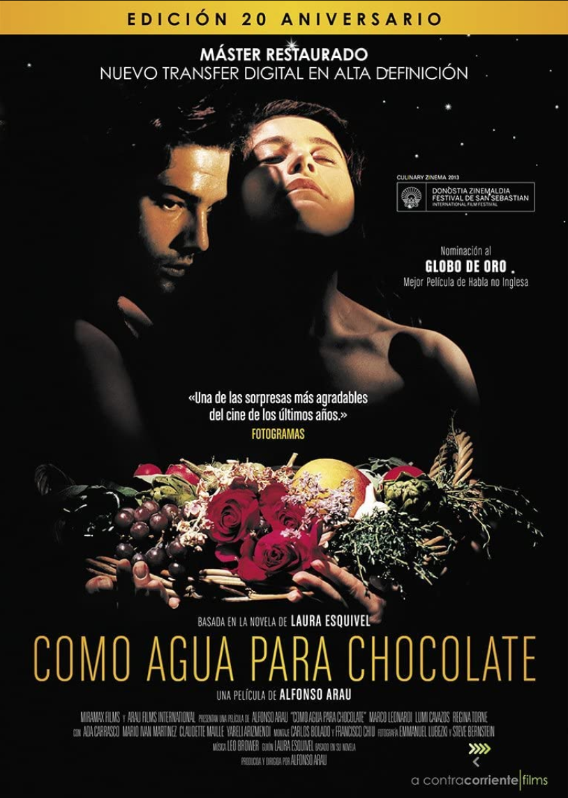 """<p><em>Like Water for Chocolate </em>is unlike anything you've probably seen. It's a romantic drama nested in magical realism with themes of gender, sexuality, and family tradition. Also food. Lots of sensuous food.</p><p><a class=""""link rapid-noclick-resp"""" href=""""https://www.amazon.com/Like-Water-Chocolate-Marco-Leonardi/dp/B0064DZIQS/ref=sr_1_1?dchild=1&keywords=Como+Agua+Para+Chocolate&qid=1622132210&s=instant-video&sr=1-1&tag=syn-yahoo-20&ascsubtag=%5Bartid%7C2139.g.36530740%5Bsrc%7Cyahoo-us"""" rel=""""nofollow noopener"""" target=""""_blank"""" data-ylk=""""slk:STREAM IT HERE"""">STREAM IT HERE</a></p>"""