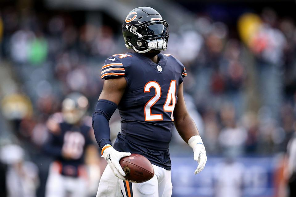 CHICAGO, ILLINOIS - JANUARY 06:  Jordan Howard #24 of the Chicago Bears warms up before the NFC Wild Card Playoff game against the Philadelphia Eagles  at Soldier Field on January 06, 2019 in Chicago, Illinois. (Photo by Dylan Buell/Getty Images)