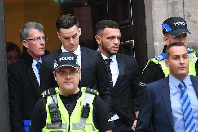 Lawrence (centre left) and Bennett (centre right) both pleaded guilty to their respective charges after the crash.
