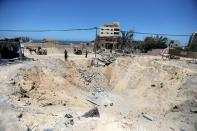 A views show the site of an Israeli air strike carried out during the recent Israeli-Palestinian fighting, in the northern Gaza Strip