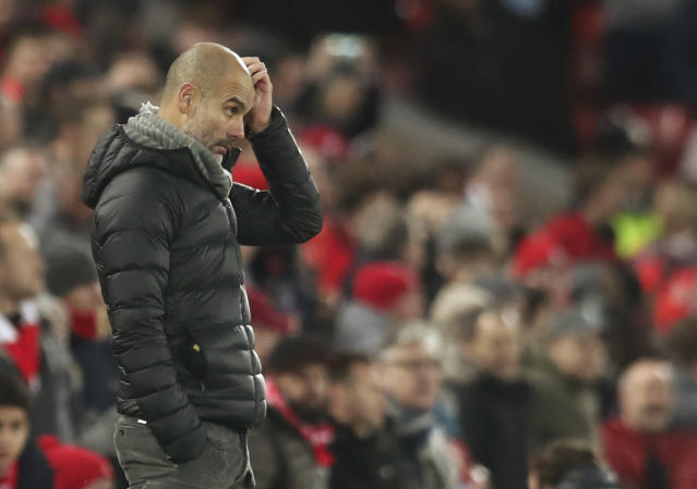 Manchester City's head coach Pep Guardiola gestures during the English Premier League soccer match between Liverpool and Manchester City at Anfield stadium in Liverpool, England, Sunday, Nov. 10, 2019. (AP Photo/Jon Super)