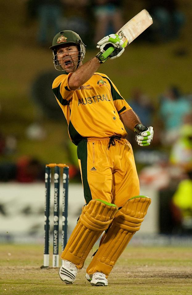 File photo dated 02/10/2009 of Australia's captain Ricky Ponting celebrates reaching his century during the ICC Champions Semi Final match at the Centurion Stadium, Centurion.