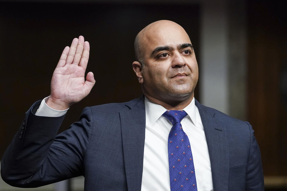 Zahid Quraishi is sworn in during a Senate Judiciary Committee hearing on Capitol Hill in Washington. (Kevin Lamarque/Pool via AP)