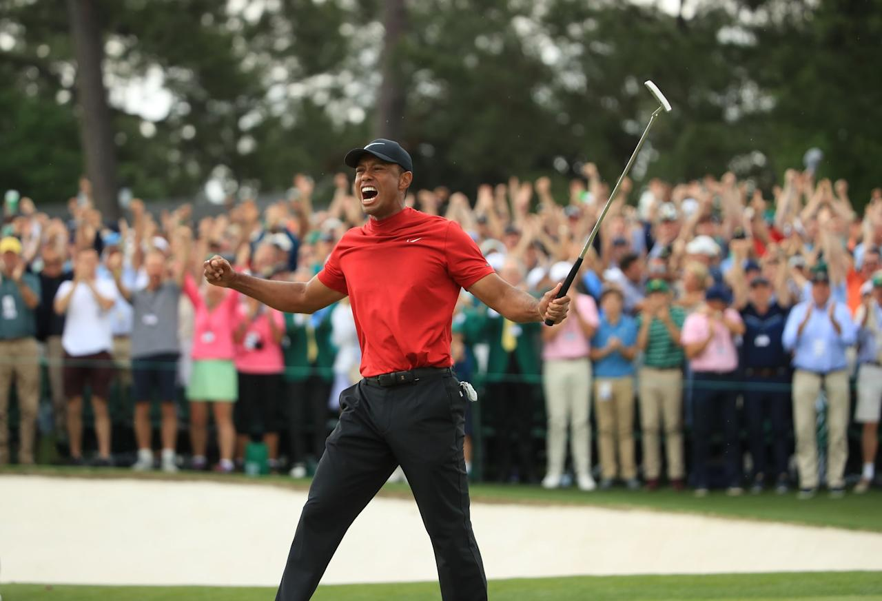 """<p>It's been billed as one of the greatest comebacks in sports. With his win at the Masters tournament in April, <a class=""""sugar-inline-link ga-track"""" title=""""Latest photos and news for Tiger Woods"""" href=""""https://www.popsugar.com/Tiger-Woods"""" target=""""_blank"""" data-ga-category=""""Related"""" data-ga-label=""""https://www.popsugar.com/Tiger-Woods"""" data-ga-action=""""&lt;-related-&gt; Links"""">Tiger Woods</a> claimed his 15th major title, ending an 11-year drought since his last championship.</p>"""