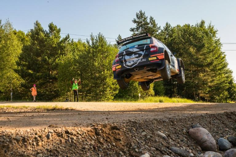 Take off: Alexey Lukyanyuk in action at the Rally of Estonia