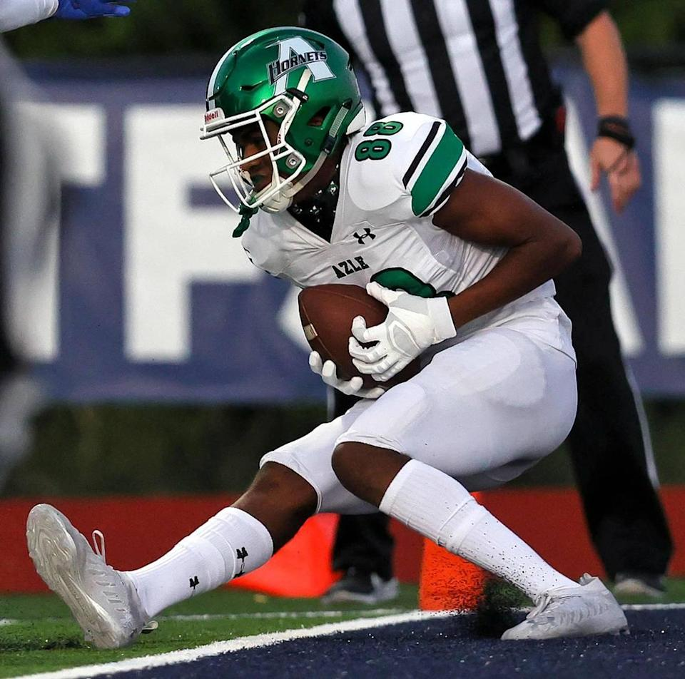 Azle receiver Eric Mcalister Jr (88) gets a touchdown reception against All Saints during the first half, Friday night, September 25, 2020 played at All Saints High School in Fort Worth, TX. (Steve Nurenberg Special to the Star-Telegram)