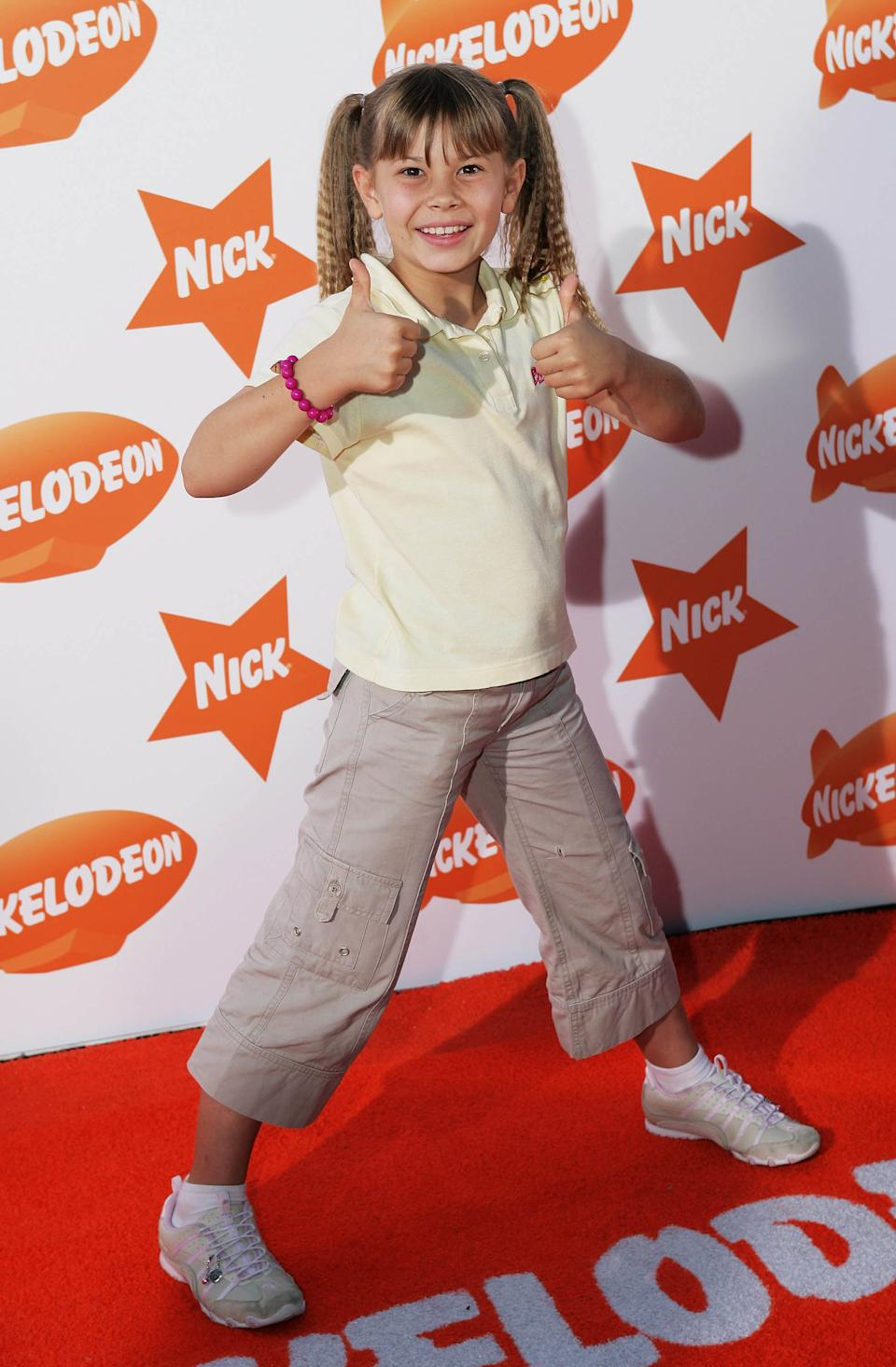 Bindi Irwin gives the camera the thumbs up at the Nickelodeon Australian Kids Choice Awards 2007 at the Sydney Entertainment Centre on October 10, 2007 in Sydney, Australia.