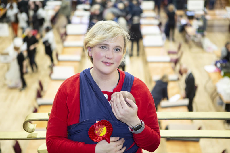 LONDON ENGLAND - DECEMBER 13: Stella Creasy Labour candidate for Walthamstow after regaining her seat at the count in Walthamstow on December 13, 2019 in London, England. The current Conservative Prime Minister Boris Johnson called the first UK winter election for nearly a century in an attempt to gain a working majority to break the parliamentary deadlock over Brexit. The election results from across the country are being counted overnight and an overall result is expected in the early hours of Friday morning. (Photo by Nicola Tree/Getty Images)