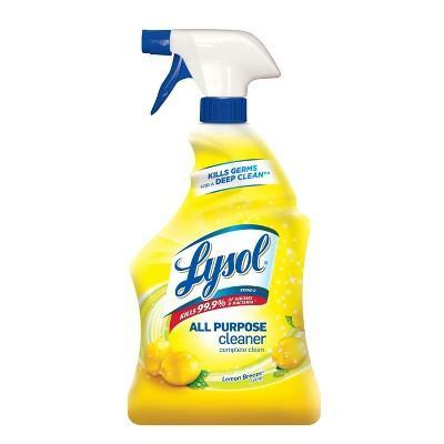 """<p><strong>Lysol</strong></p><p>target.com</p><p><a href=""""https://www.target.com/p/lysol-lemon-breeze-scented-all-purpose-cleaner-38-disinfectant-spray-32oz/-/A-14062784"""" rel=""""nofollow noopener"""" target=""""_blank"""" data-ylk=""""slk:BUY IT HERE"""" class=""""link rapid-noclick-resp"""">BUY IT HERE</a></p><p>This product works in every room, cutting through dirt, stains or lime scale. Plus the lemon scent will make your house smell fresh.</p>"""